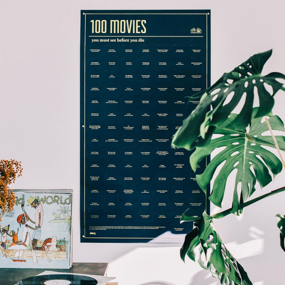 100 Movies You Must Watch Poster on a wall in a bedroom setting