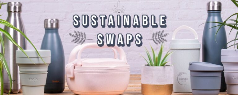 Sustainable swaps for everyday use including reusable coffee cups, water bottles and lunch boxes