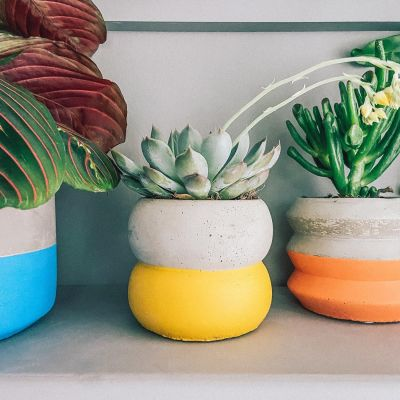 Colour Block Cement Planter - Yellow