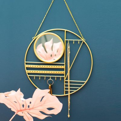 Sass & Belle Abstract Gold Jewellery Hanger With Mirror