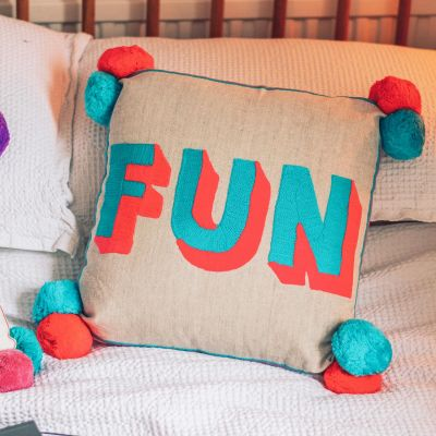 Fun Embroidered Cushion on Linen - Turquoise/ coral