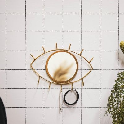Eye See You Mirror With Hooks - Gold