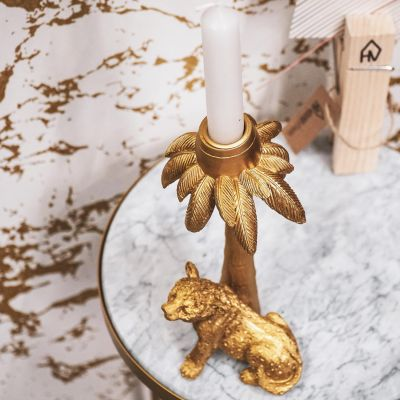 House of Vitamin Candle Holder Tiger Palm Gold
