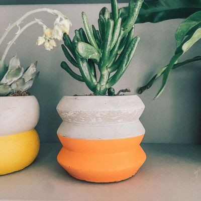 Colour Block Cement Planter - Orange