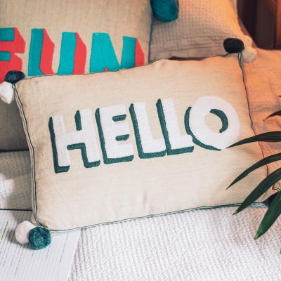 Hello Embroidered Cushion on Linen - Grey/ White