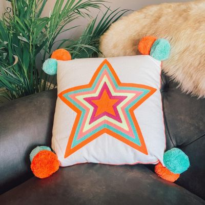 What a Star Embroidered Cushion Orange