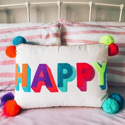 Happy Embroidered Cushion - Multicloured