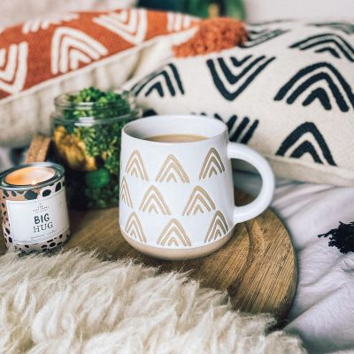 Wax Resist Triangles White Mug