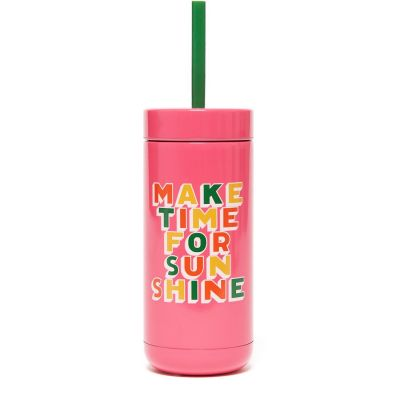 ban.do Stainless Steel Tumbler With Straw - Make Time for Sunshine