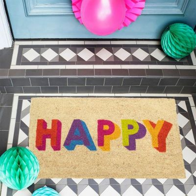 Bombay Duck Happy Block Letters Door Mat Multicoloured