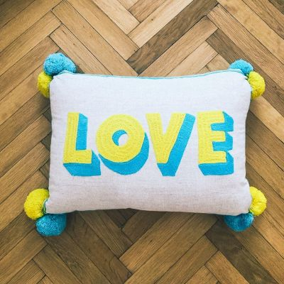 Love Embroidered Cushion on Linen - Yellow/ Turquoise