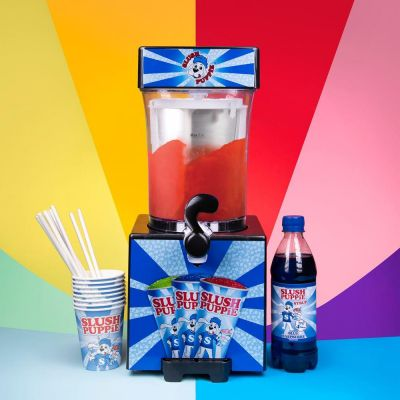 Slush Puppie Machine & Paper Cups & Blue Syrup Set