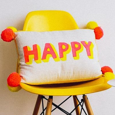Happy Embroidered cushion on Linen - Coral/ Yellow