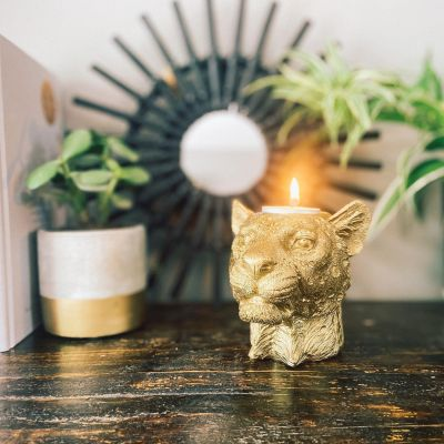 House of Vitamin Candle Holder Lady Lion Gold
