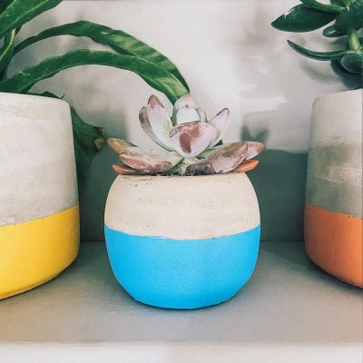 Colour Block Cement Planter - Blue
