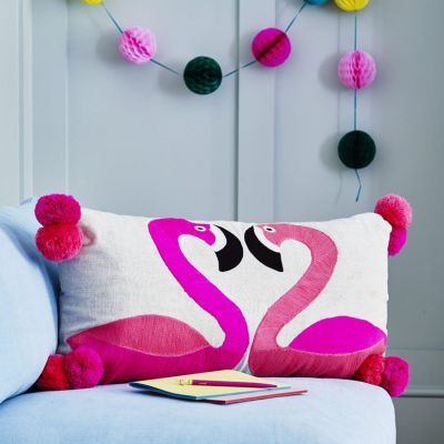 Flamingoes Embroidered Cushion on Linen